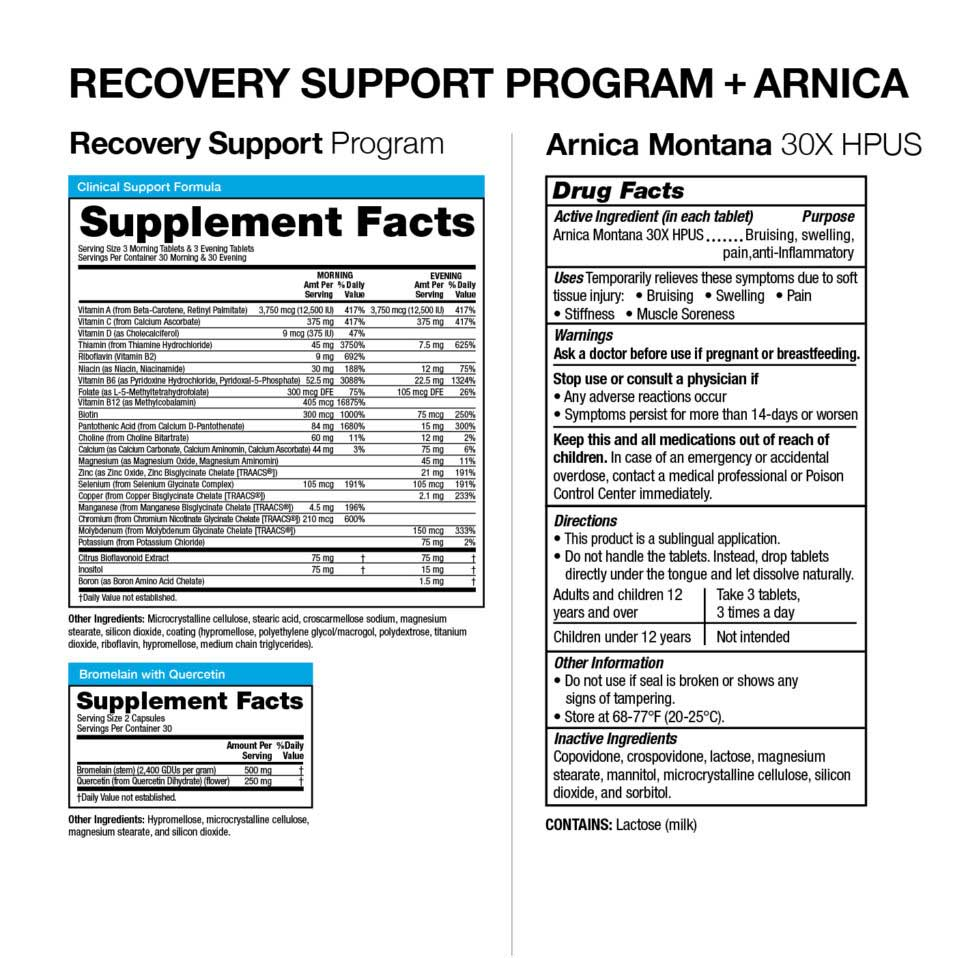 Vitamedica Recovery Support Program + Arnica ingredients
