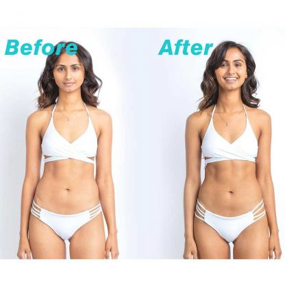 Coola Sunless Tan Express Sculpting Mousse before and after